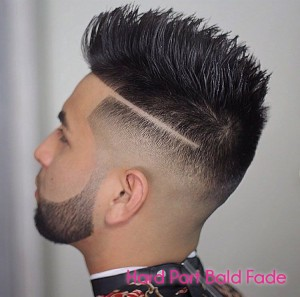 Hard Part Bald Fade + Spiky Texturized Hair